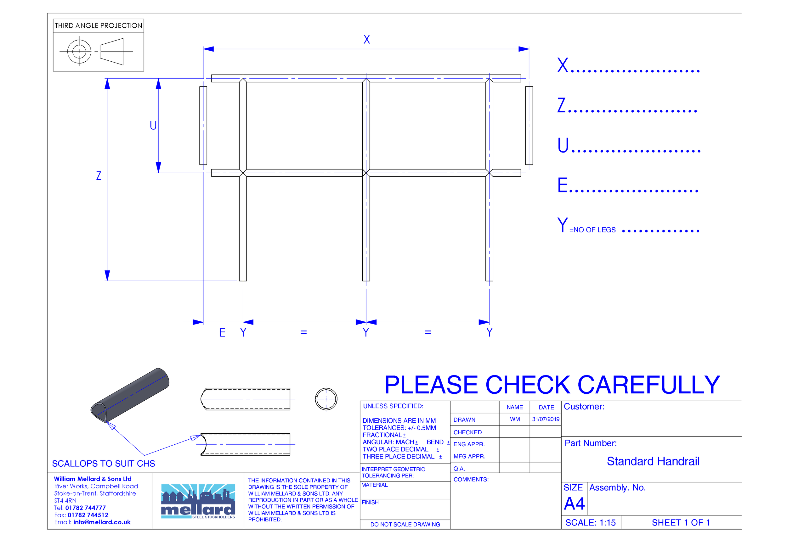 Standard Handrails - With our Standard Handrail template you can create you're own handrail in minutes, simply fill the details out and we'll do the rest! Email the drawing to tubelaser@mellard.co.uk, we will then send a drawing confirmation and proceed to process and deliver your handrails to you. Ready for fabrication!Download here.