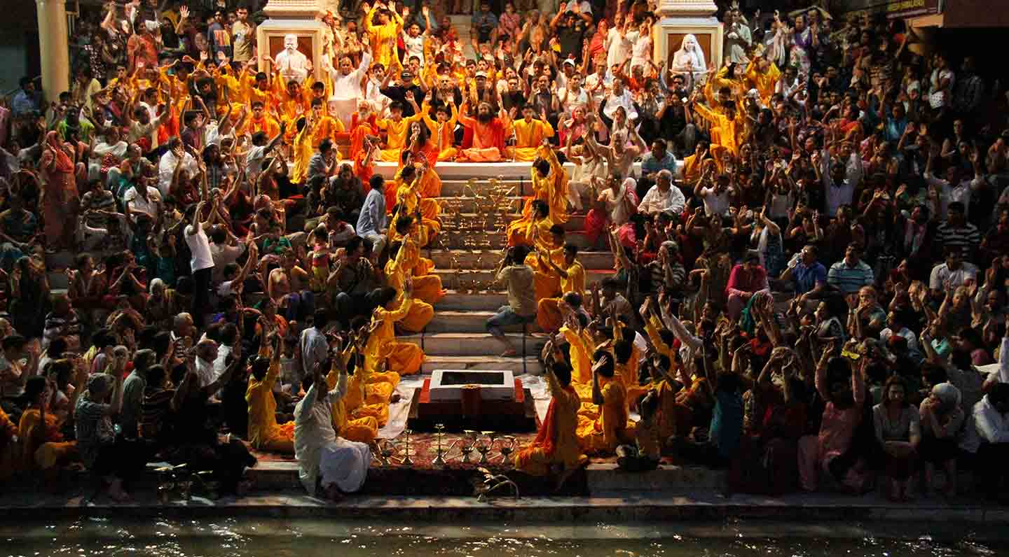 Nightly Aarti at Parmath Niketan. The white people are definitely the biggest clappers.