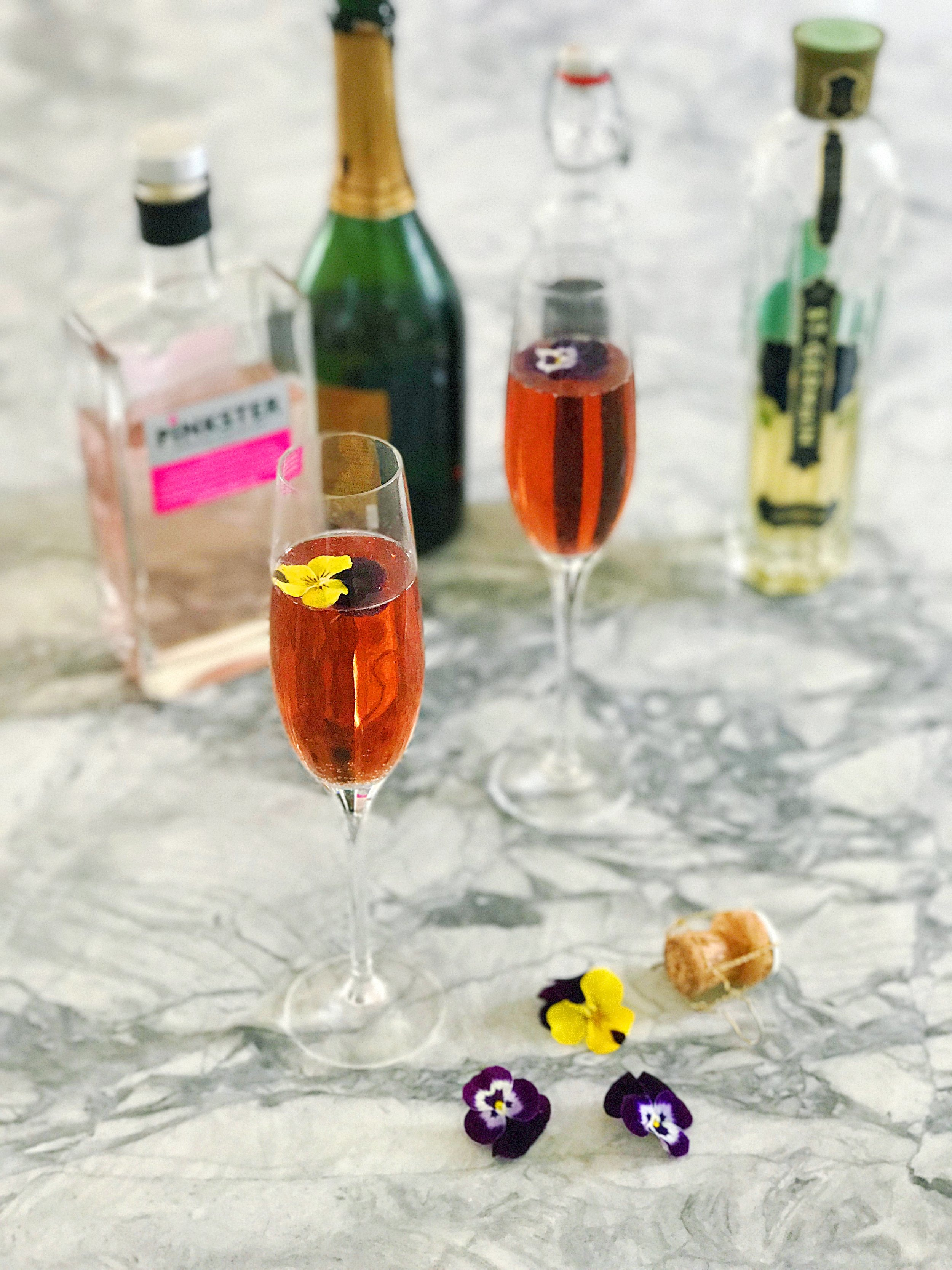 Pinkster Gin, St Germain, Crème de cassis, prosecco.  Any combination of the above would make a great cocktail.