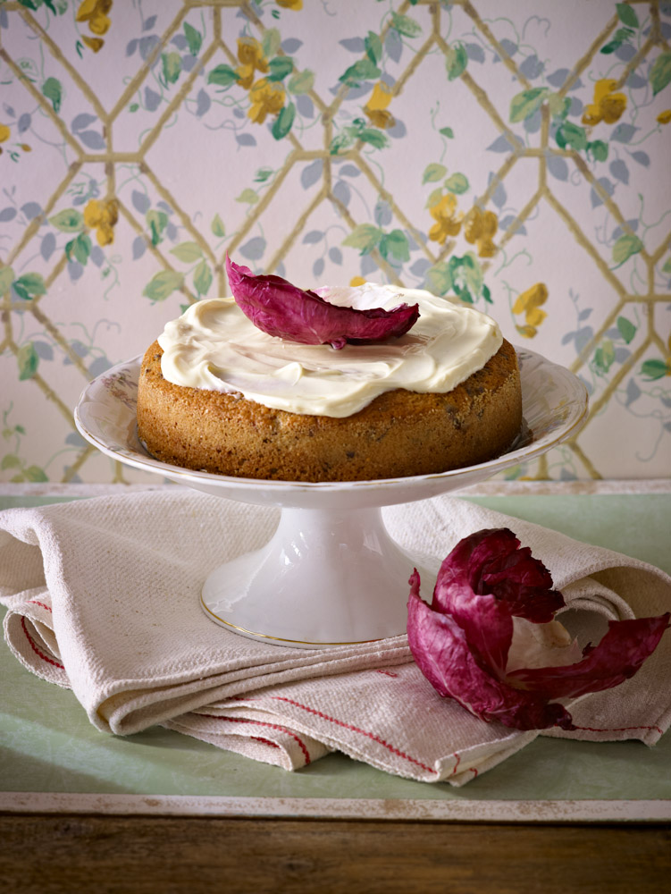 Radicchio Cake with white chocolate icing from Tessa's book ' Limoncello & Linen Water ' - by Murdoch books. Photo by Manos Chatzikonstantis  @manoswashere