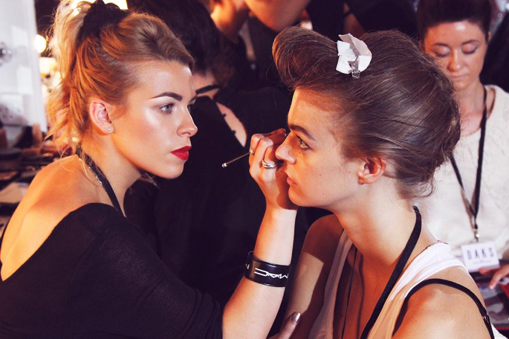 Working backstage at the Daks fashion show. Picture by  Zoe London