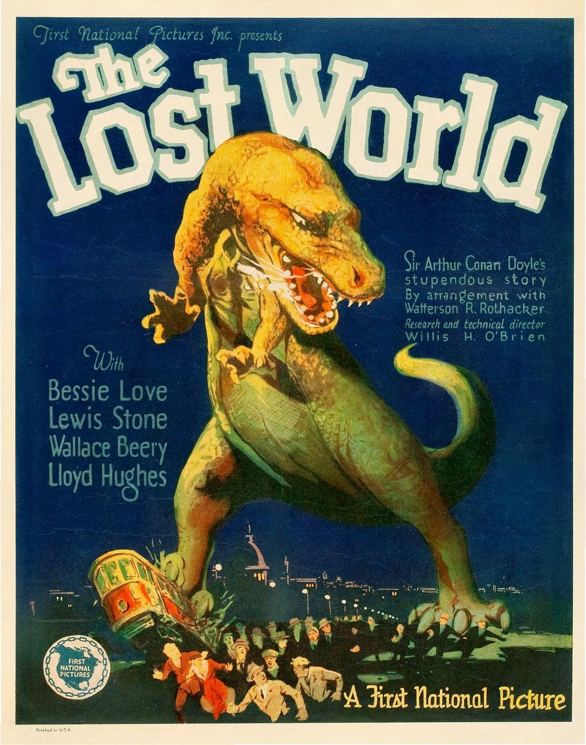 The Lost World -elokuvajuliste vuodelta 1925. Kuva:Wikimedia Commons.