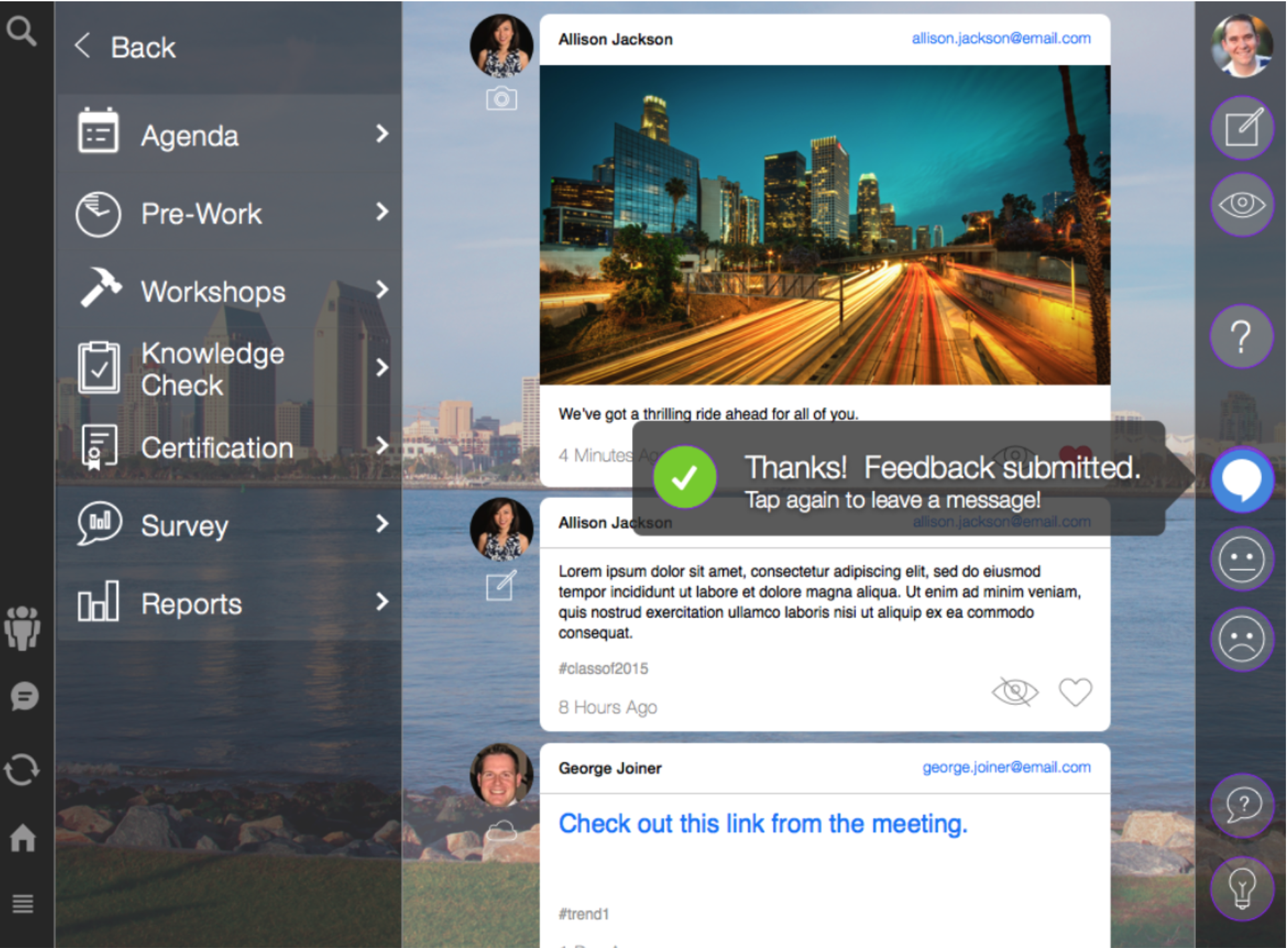 Collaboration - 4th Down's social experience allows your attendees to share, message and interact virtually.