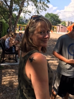 At the  Wild Goose Festival ...with my wild goose tattoo.