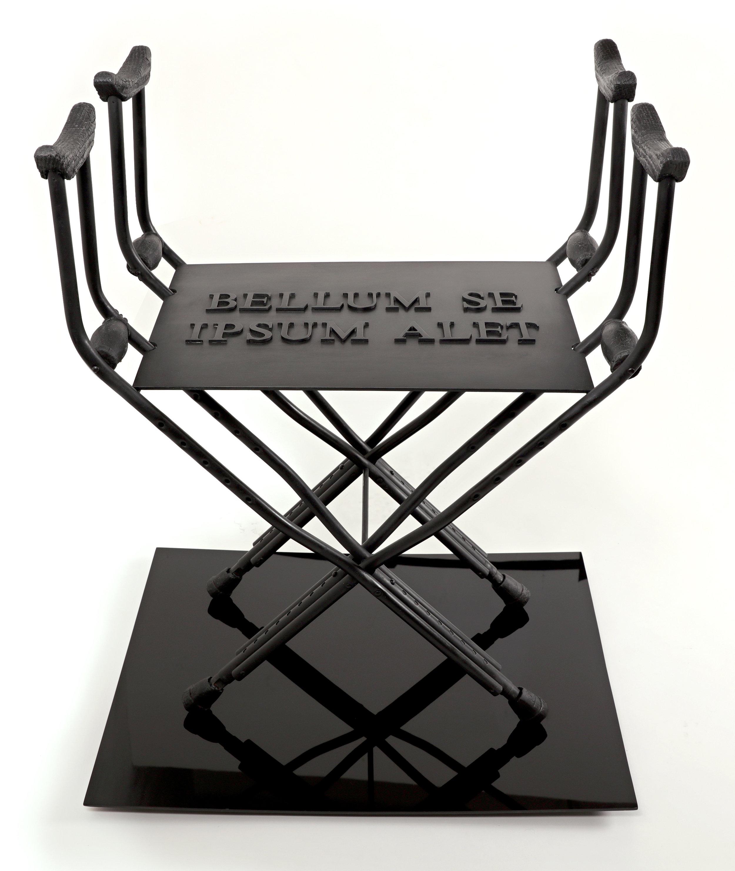 Sella Castrense Revisited , 2016 /Crutches, burned wood, aluminum, patina on black acrylic base /24 x 31 x 36 inches / Photo: Pedro Portal