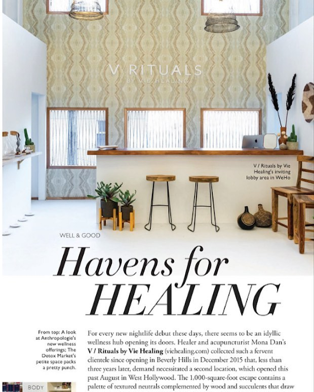 """""""The 1,000-square-foot escape contains a palette of textured neutrals complemented by wood and succulents that draw inspiration from the Mediterranean and Yucatán Peninsula, a kombucha bar and a retail area selling globally sourced goodies. Private rooms are where the healing magic happens: acupuncture, 24k gold ear seeds, supercharged peels, EFT rapping, reiki, cupping, and of course, massage."""" Thank you @angelenomagazine for naming us a """"Haven for Healing"""" in its October issue! Have you been to our new space yet?"""