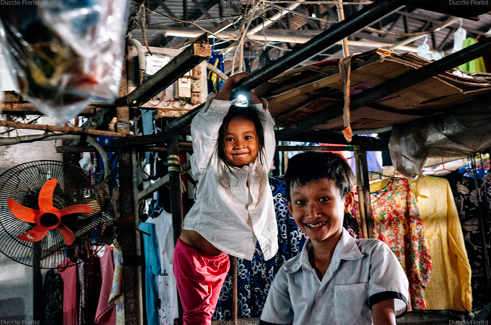 Children playing in the market at Sihanoukville