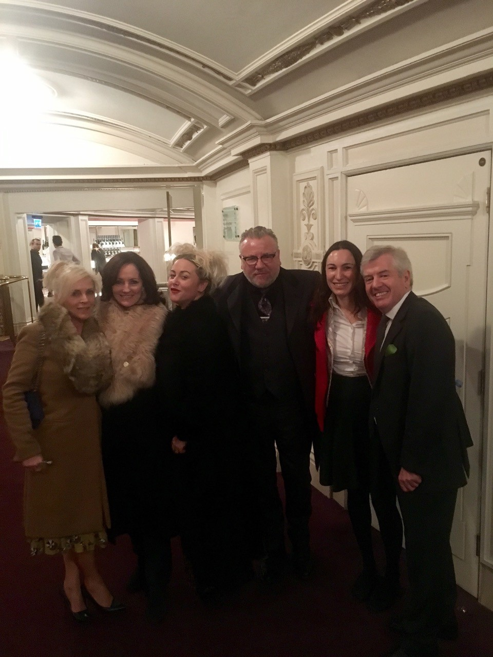 Another convert to opera! Ray Winston and family left-to-right Elaine Winston,Jacquie Brunjes,Jamie Winston, Ray Winston, Cressida Pollack CEO of ENO, Dr Harry Brunjes