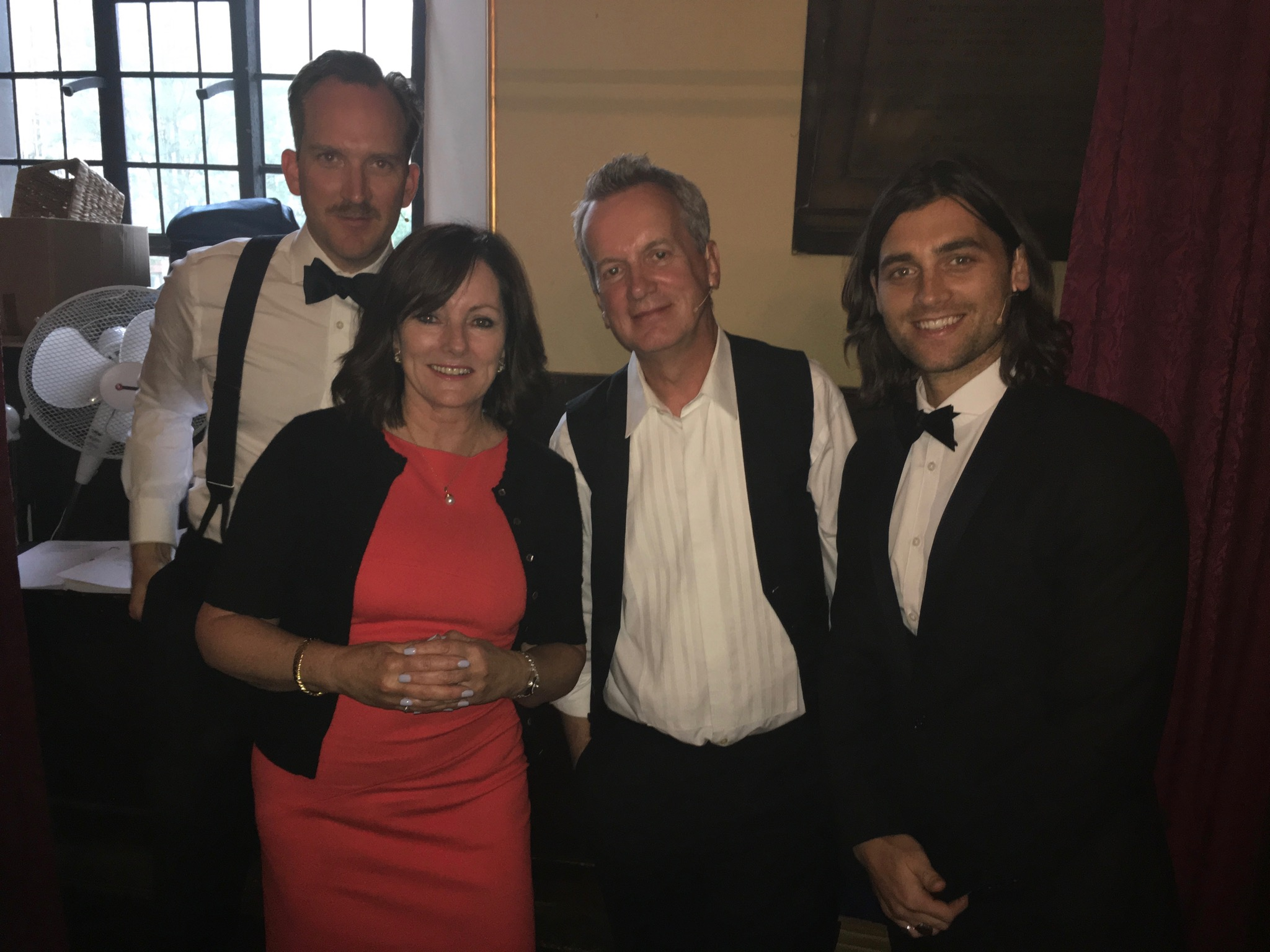 Jacquie Storey with some of the cast of the 60th My fair Lady celebrations Freddie Eynsford - Hill – Bradley Jaden Alfred Doolittle Frank Skinner Colonel Pickering – Stephen Carlile