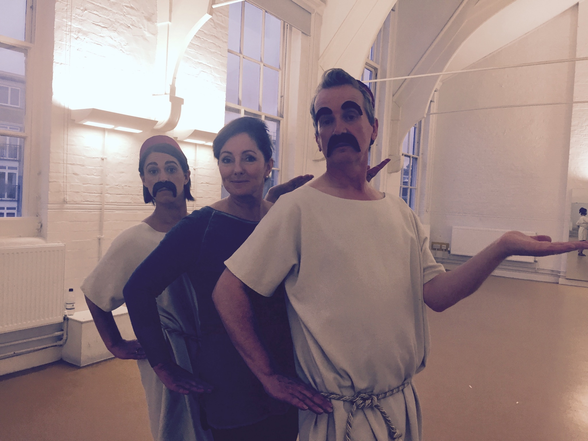 """Jacquie Storey with Suzi Klein and Frank Skinner the Sand Dance for the BBC show """"What A Performance"""""""