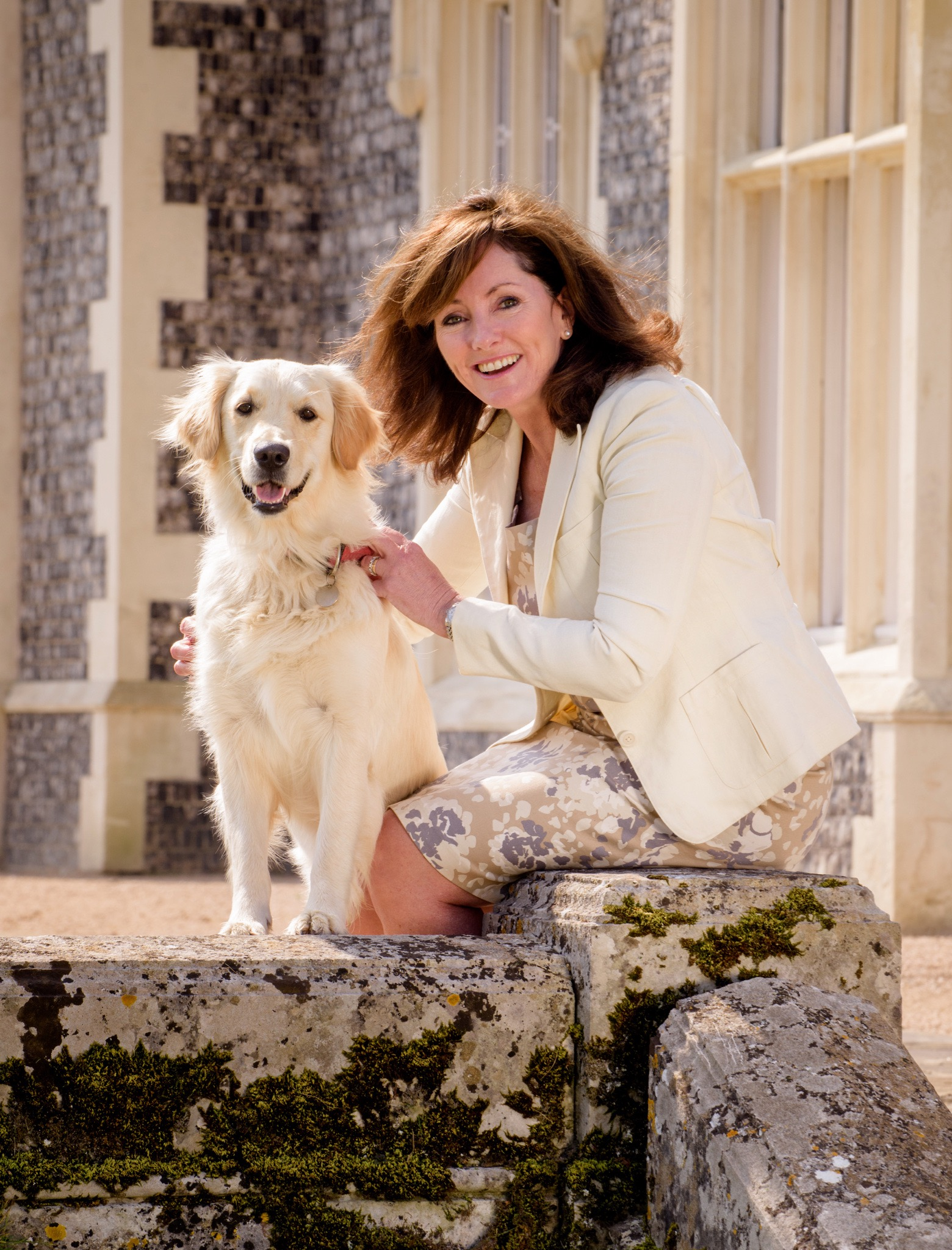 Jacquie Brunjes with Lullah the family dog at Folkinton Manor- picture taken for Sussex Life May 2015