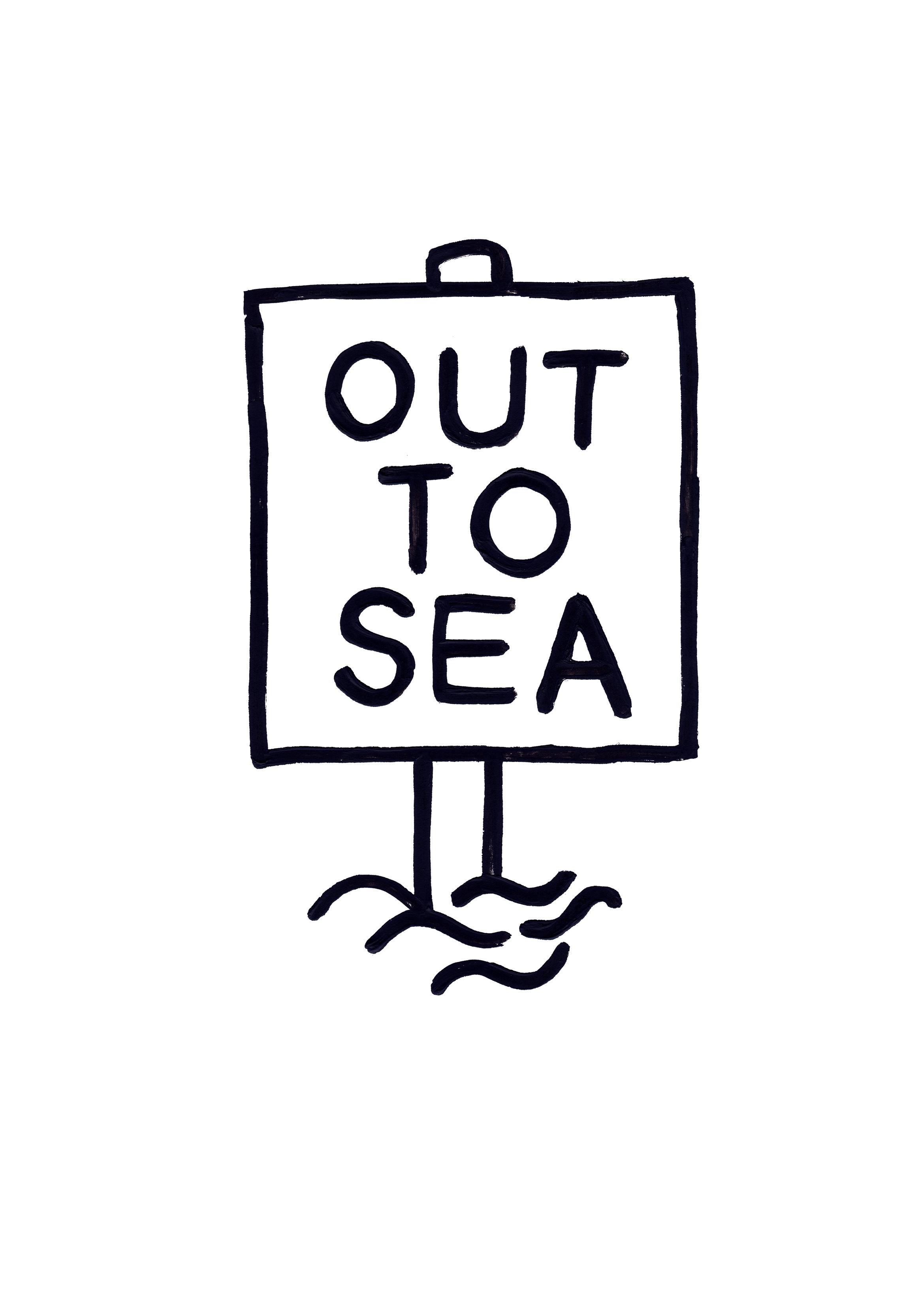 Out to Sea , Adam Bridgland, A3 monoprint, 2017.