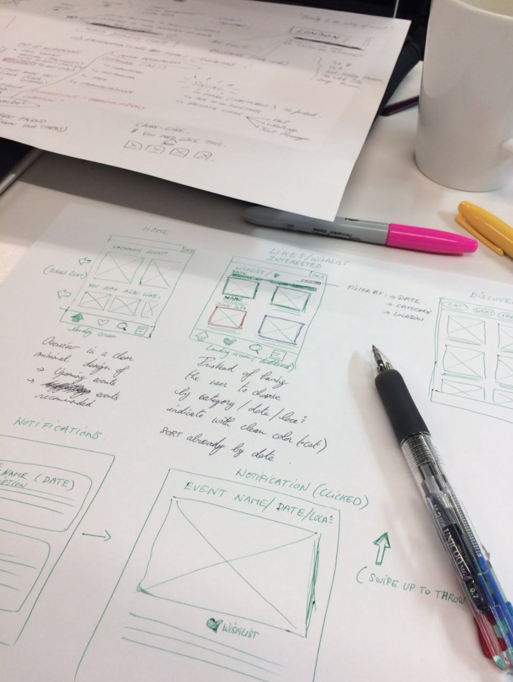Early sketching/wireframing