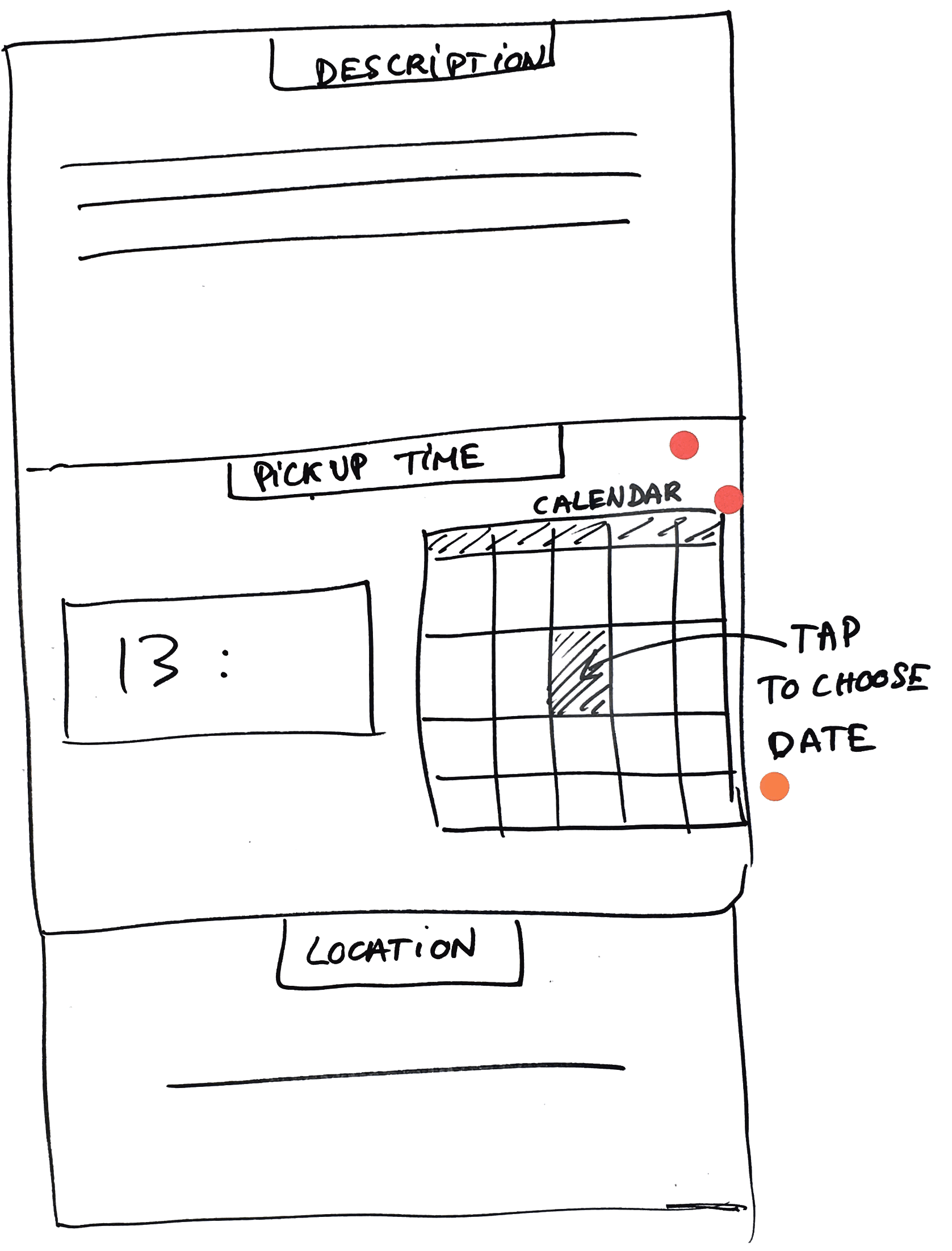 In the first round, I sketched a calendar feature.