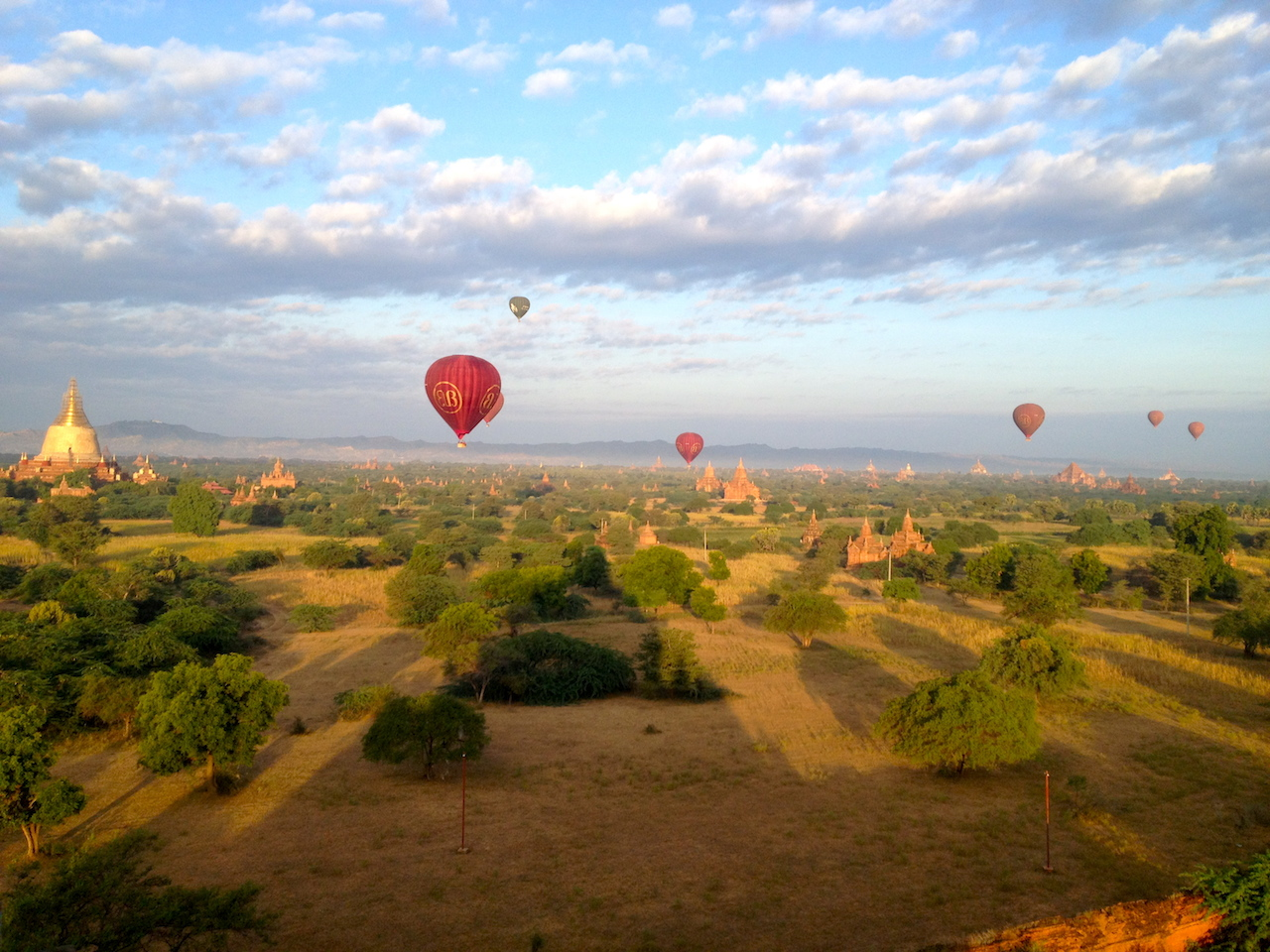 that picture… red ballons, stupa, sunrise