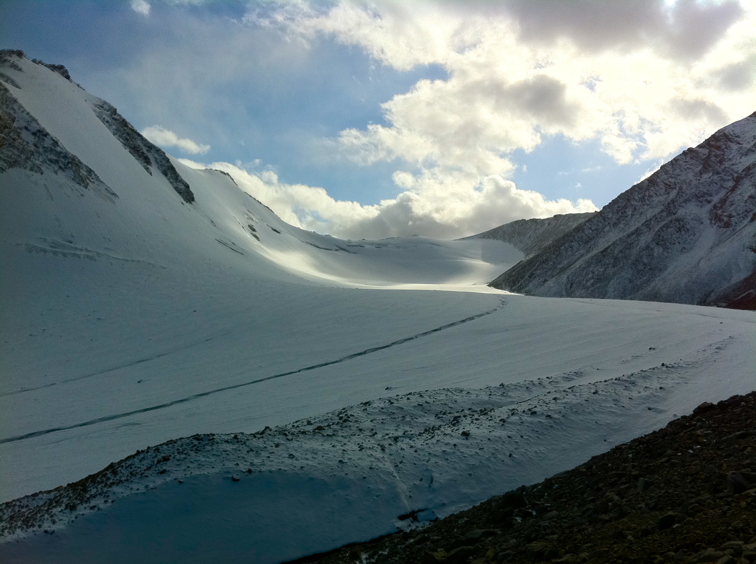 The glacier's elevation ranges from 3740 meters to 4500 meters.