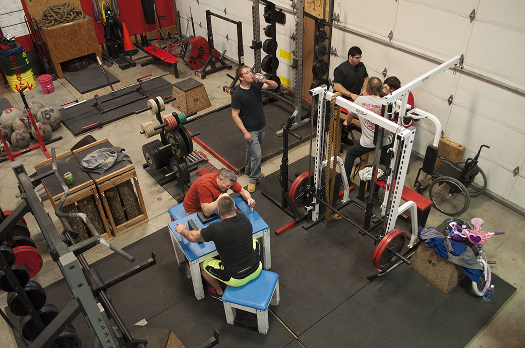Epic Fitness Solutions, a strength sport training center, is owned by WVHR teammate Will Dinwiddie (center, wearing green and black shorts.)  Since moving into the building in July 2014, Will has held several competitions to grow the armwrestling community and bring in new team members.