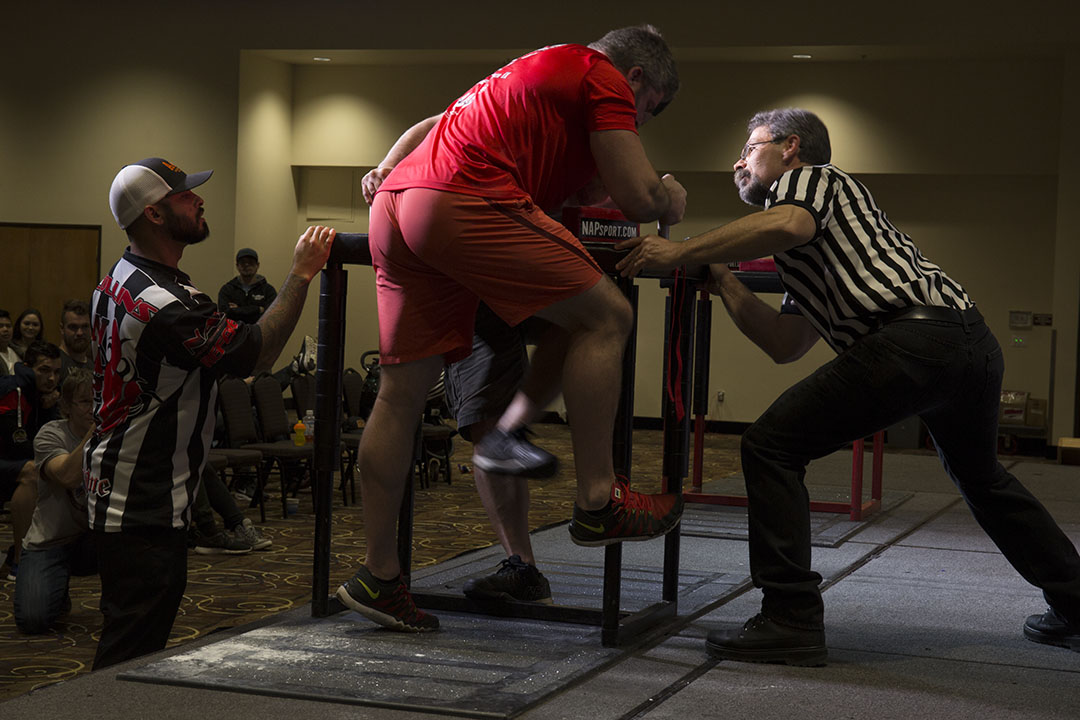 Will Dinwiddie competes at the 2017 US Armwrestling Open, held at Chinook Winds Casino Resort in Lincoln City, Oregon.