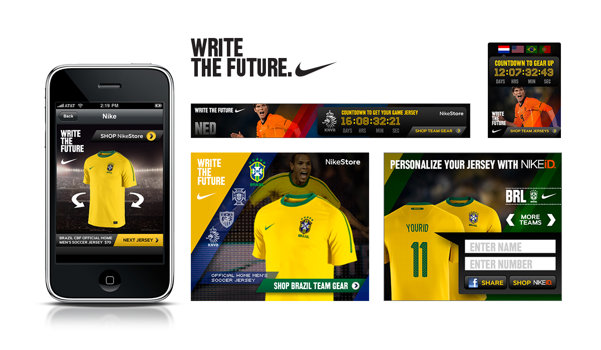 World Cup 2010 : Digital touch points included live countdowns, shoppable ads, NIKEid jersey personalization, and kit rotation in a mobile ad placement.   Watch:   Shop World Cup Jerseys   |   Personalize Your Jersey With NIKEiD