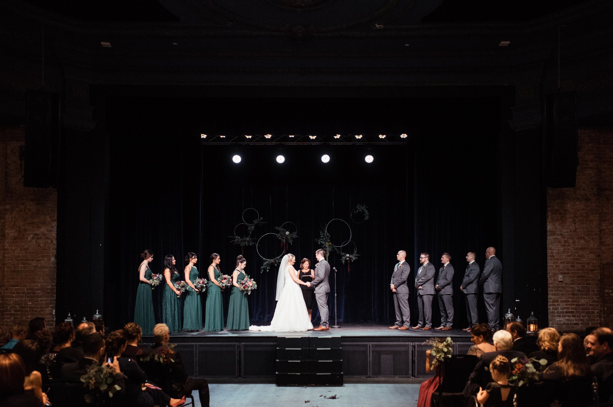 The floral and greenery hoops added just the right amount of drama to their ceremony.