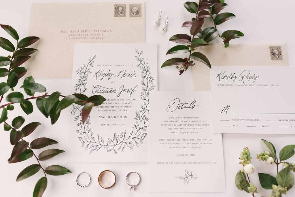 The perfect flatlay with just the right touch of details and greenery for Kayley and Christian's invitation.