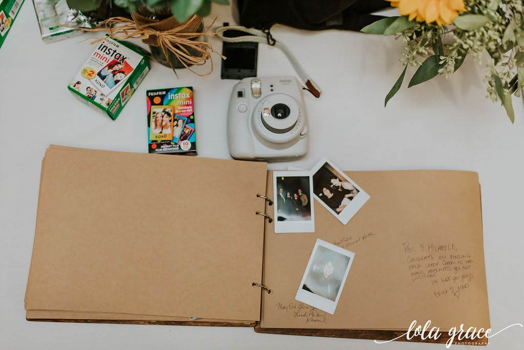 Guests filled out this handmade scrapbook with candid photos and memories.