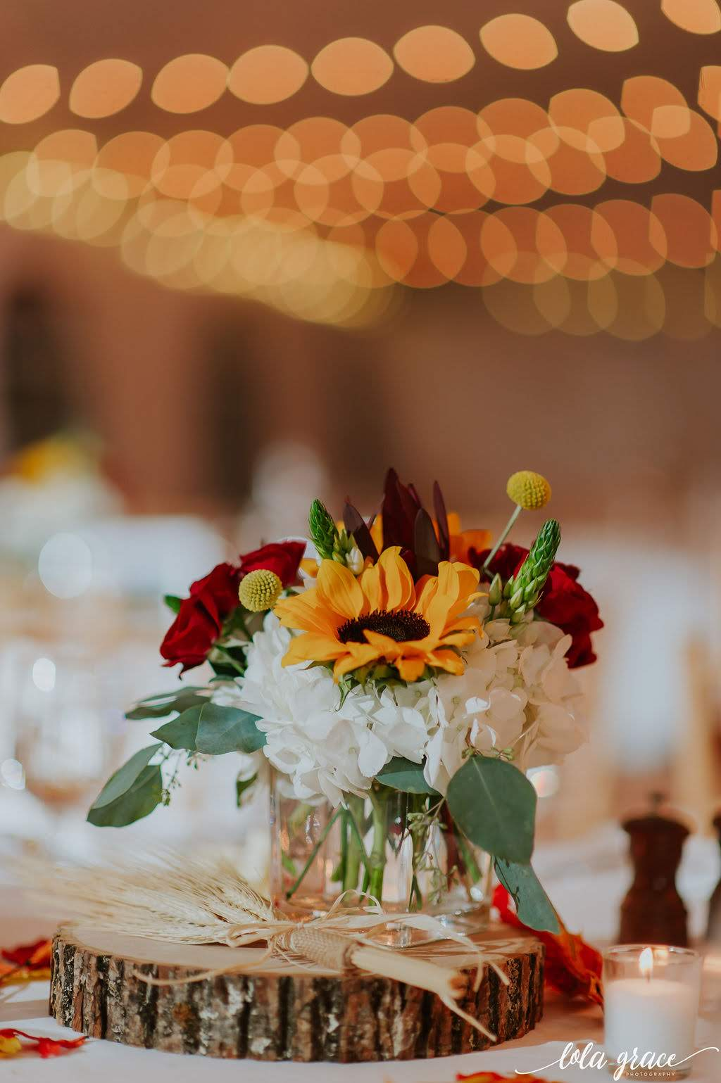 Just the right amount of fall decor for their centerpieces.