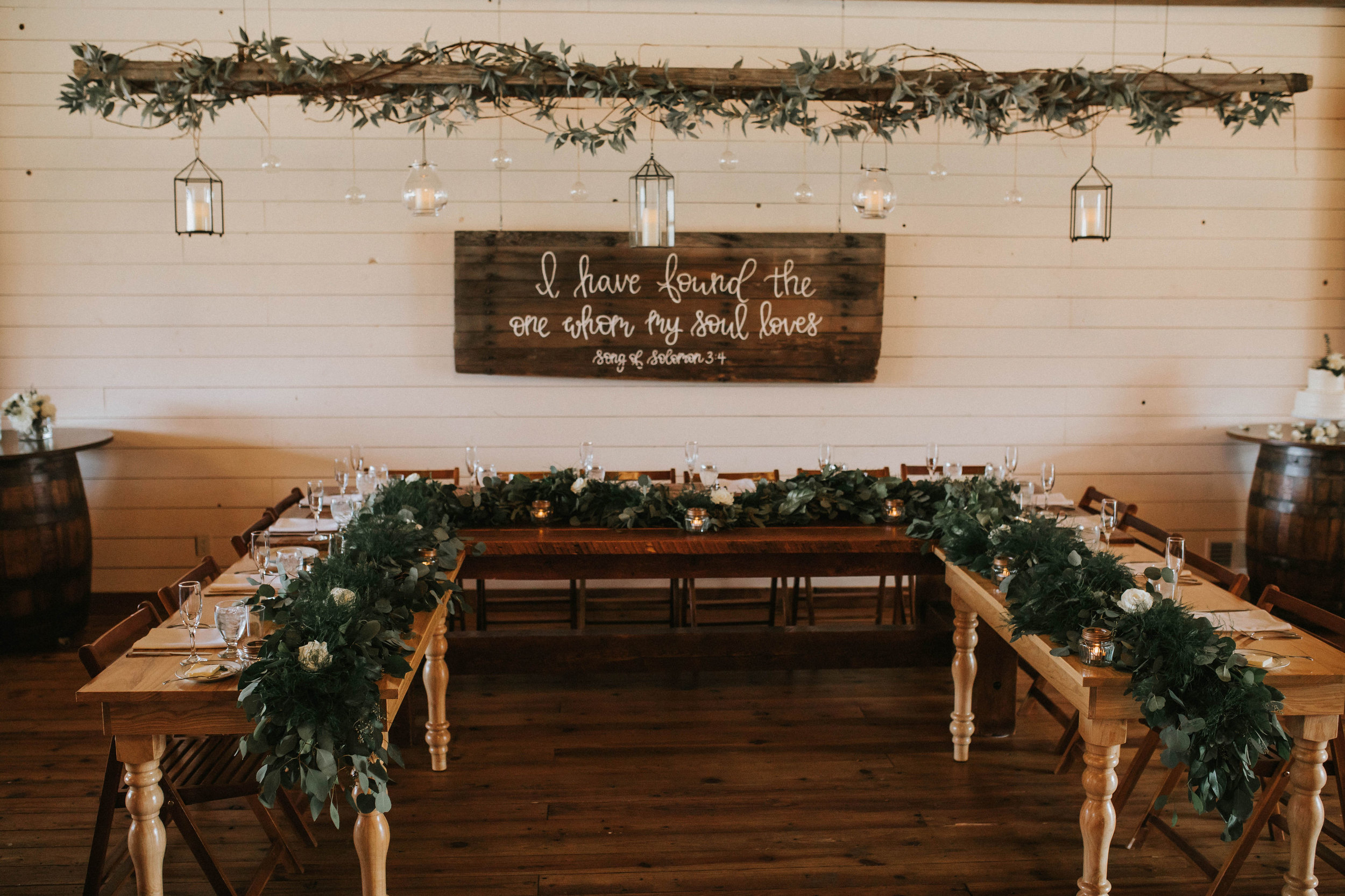We added two tables to extend the head table to create a 'U' shape to accommodate the 14 person bridal party.
