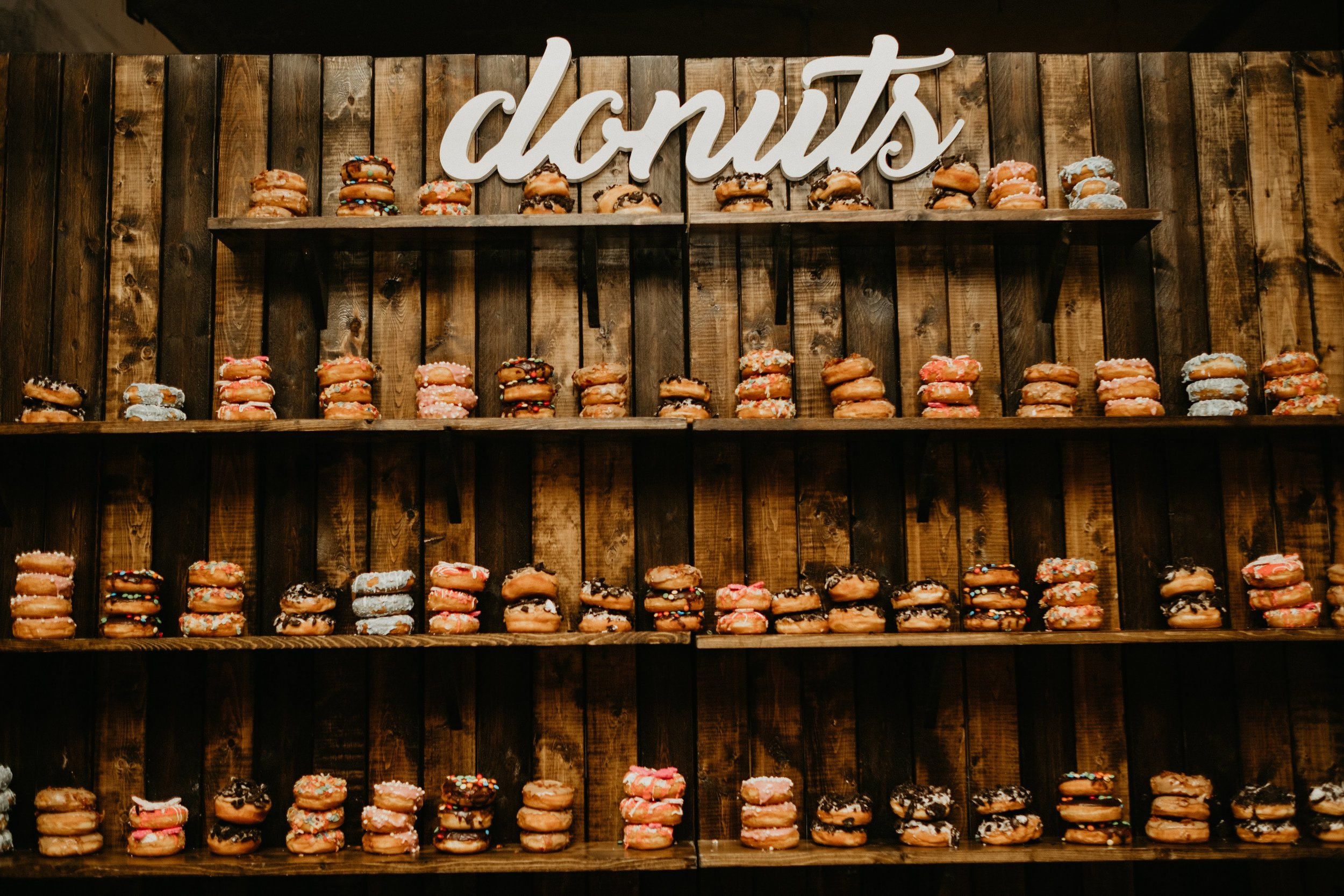 Our team created an art installation of love and sugar with the delicious confections from the Donut Bar.