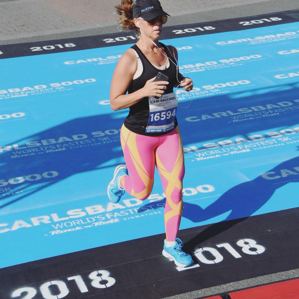 Jen Crossing the finish line in the Carlsbad 5000