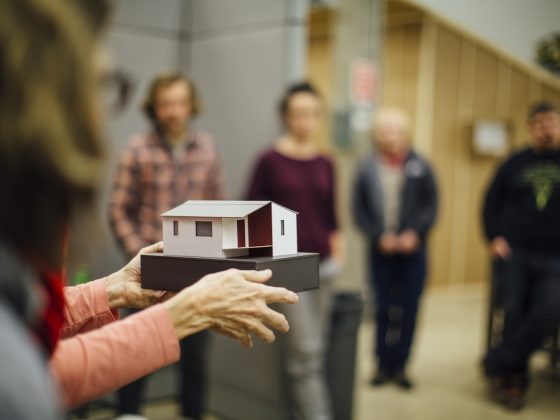Montana State University architecture students present full scale prototype shelters as part of their research on homelessness in Bozeman, Mont., on Thursday, Nov, 17, 2016, in preparation for an open house event on Tuesday, Nov. 29, 2016, to showcase to the community and receive feedback on their project. MSU Photo by Adrian Sanchez-Gonzalez