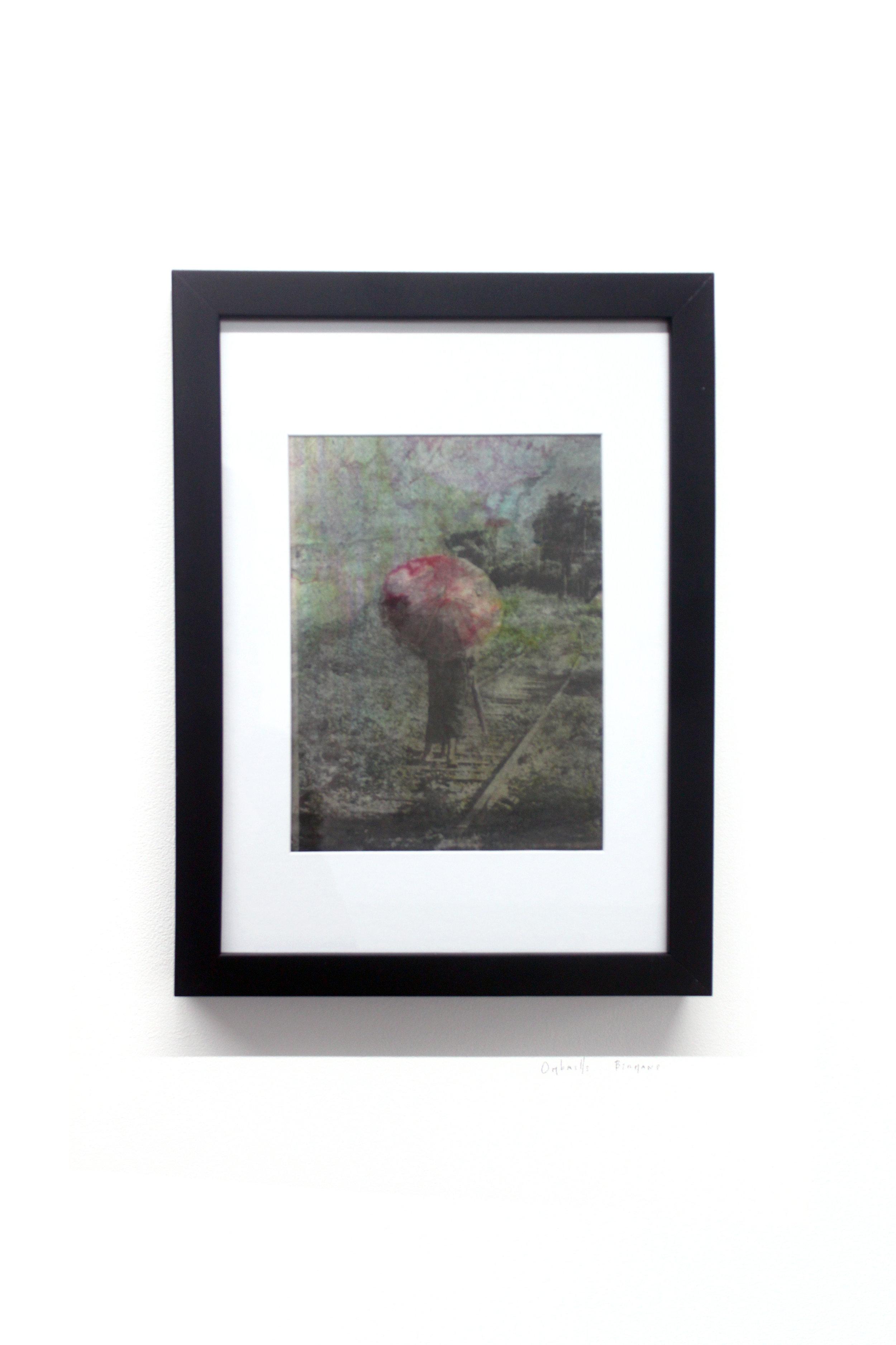 Edouard Burgeat, Train rails acid fragments, Ombrelle birmane, photographie argentine transférée sur acier, 21x15cm