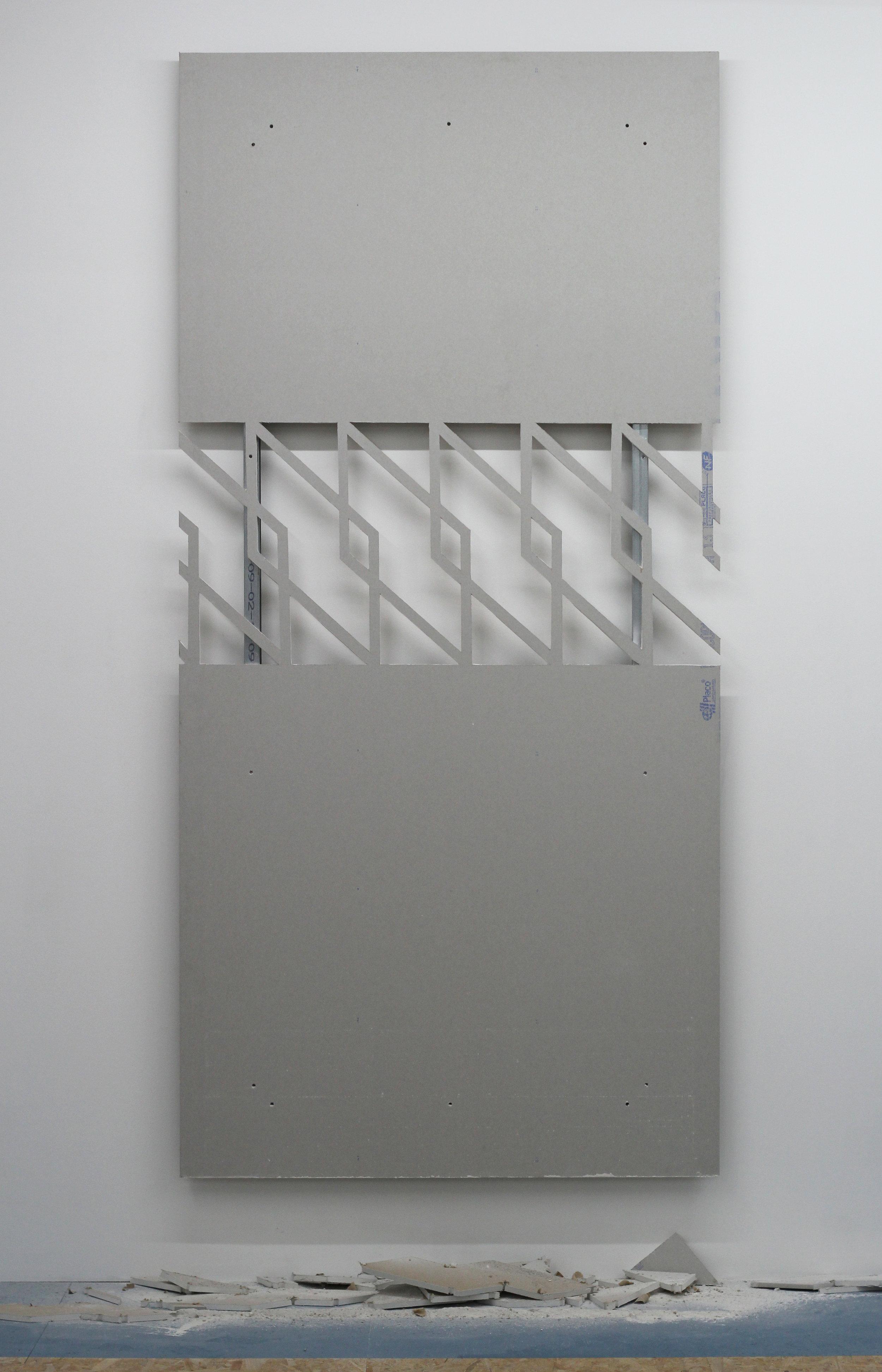 Hugues Loinard, GRVN#3 , 2018, plaque de plâtre échancrée, montants en acier, 120x250cm, Galerie Marchepied