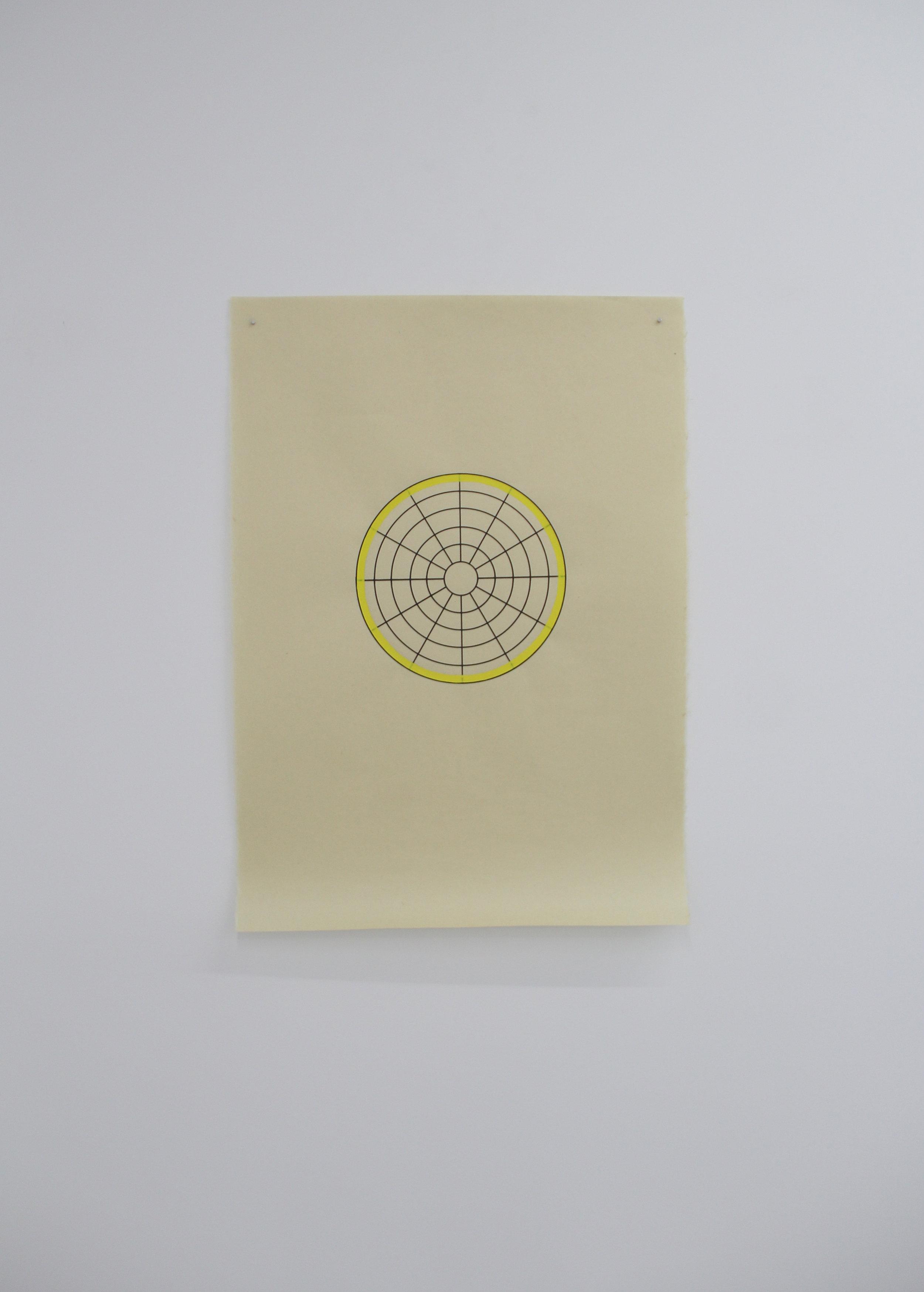 Antonin Gerson,  Jaune - Omnidirectionnel , sérigraphie, gouache, 58x84cm 2018