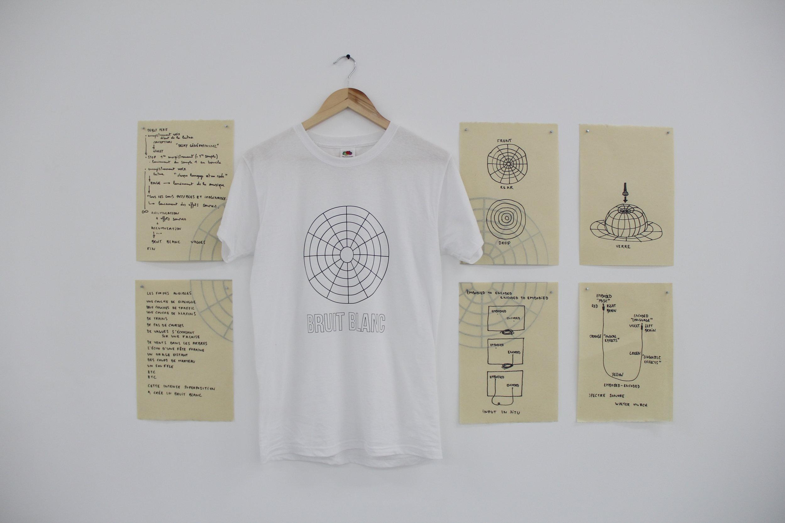 """Antonin Gerson,  Croquis, partitions et T-shirt pour la performance """"Jusqu'au bruit blanc"""" , 2018, Galerie Marchepied"""