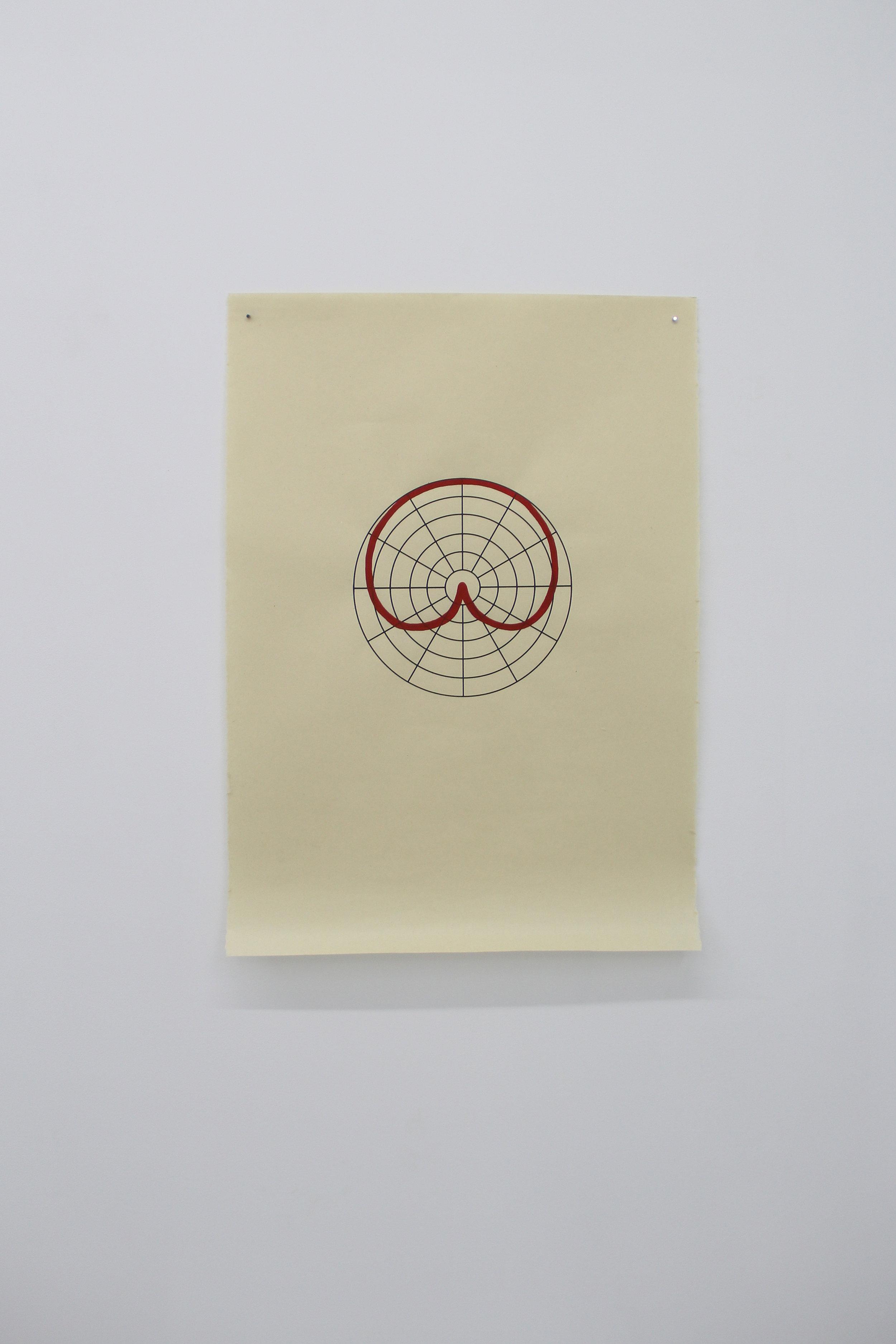Antonin Gerson,  Rouge - Cardioïde,  Sérigraphie, gouache, 58x84cm, 2018
