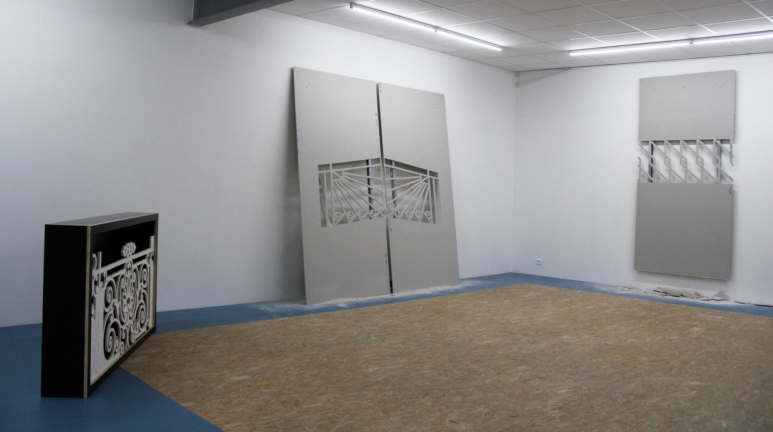 Exhibition view : Le syndrome du précipice , Hugues Loinard, Galerie Marchepied, 2018