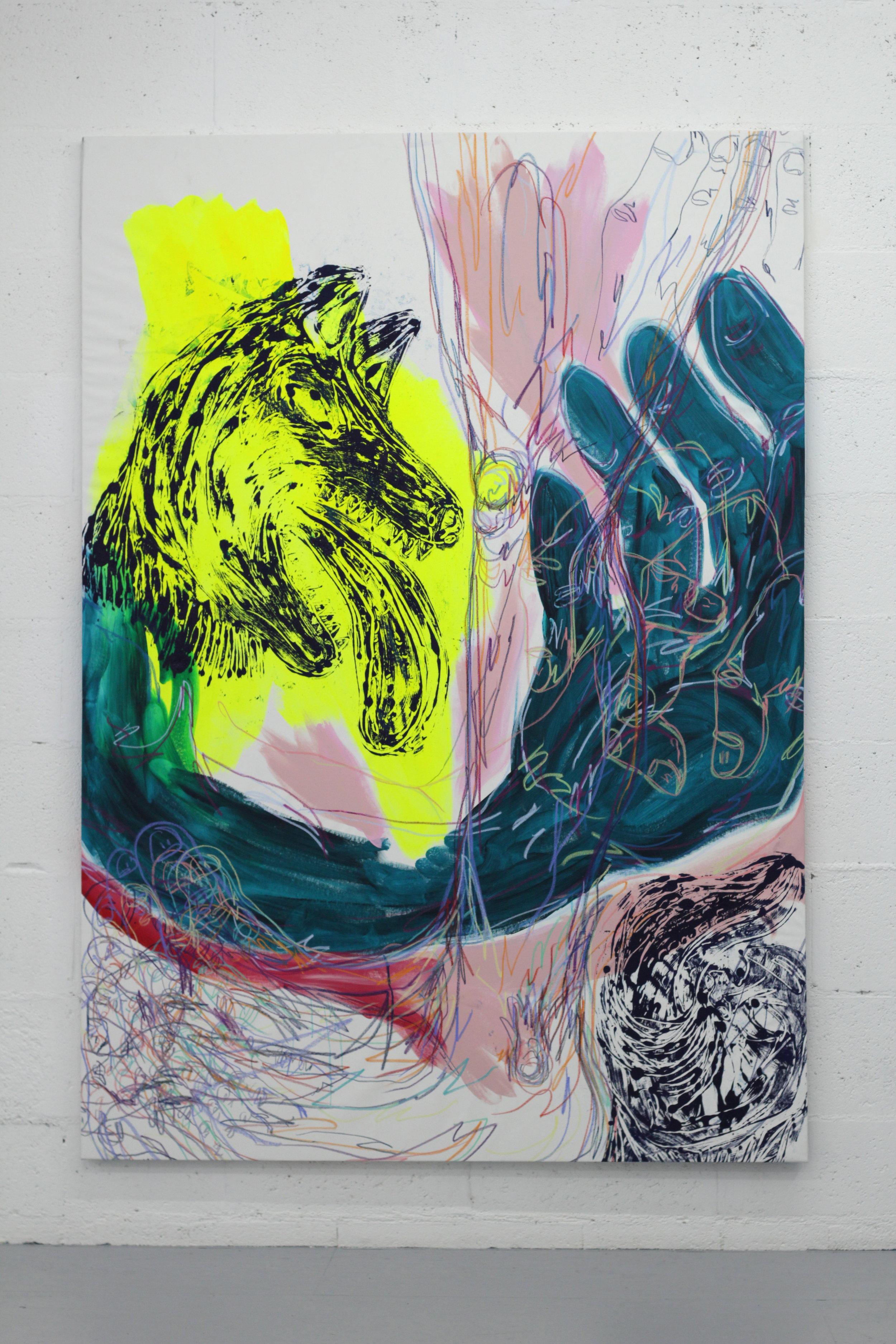 Cécile Guettier,  Pendant que j'y réfléchis encore un escargot me dépasse,  techniques mixtes, monotype, encre, acrylique, pastel gras, 200x160cm, 2018