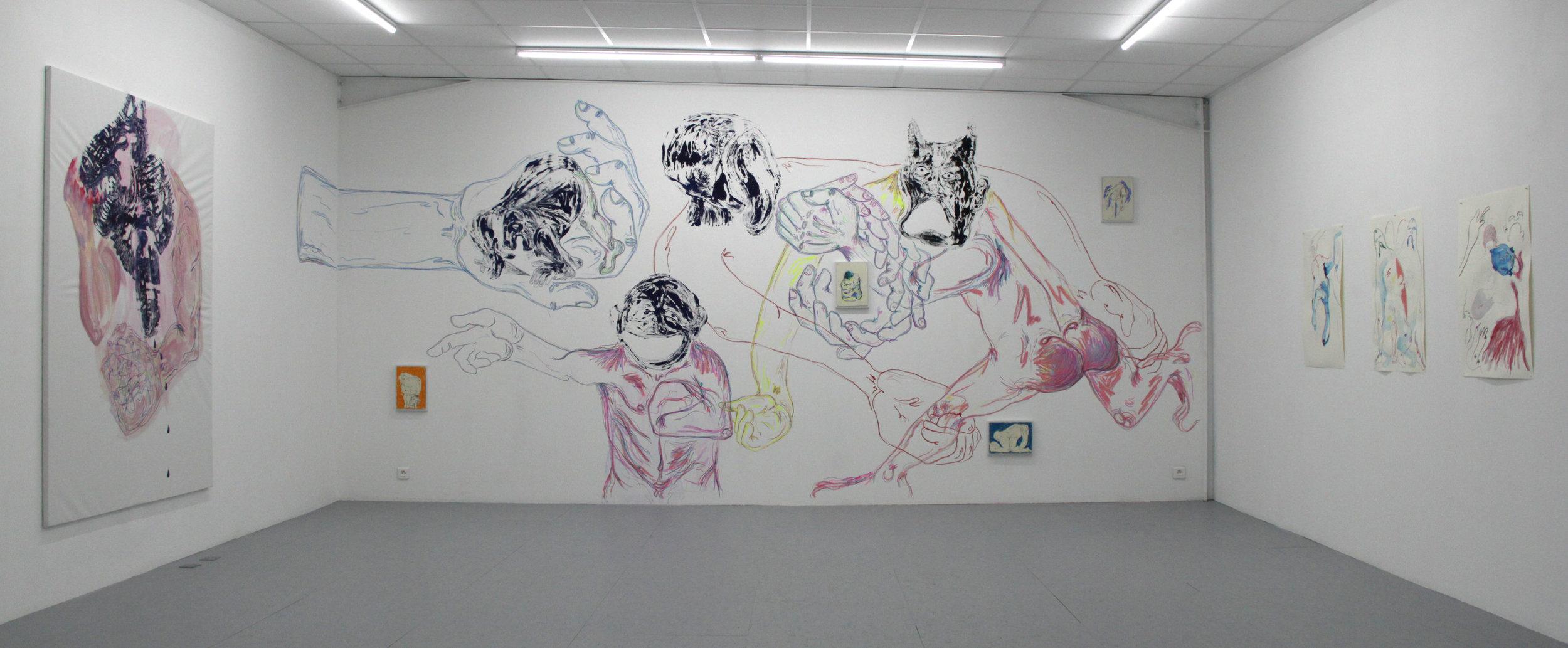 Cécile Guettier,  Réfractions,  fresque murale, monotype, encre, craie, pastel gras, 2019