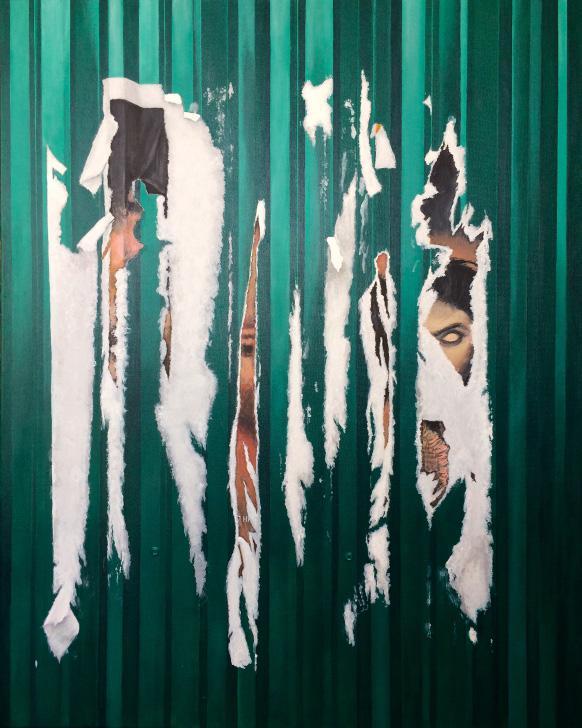 Martin Boissard,  Stigmates à Kuala Lumpur,   2019, acrylique sur toile, 92 x 73 cm