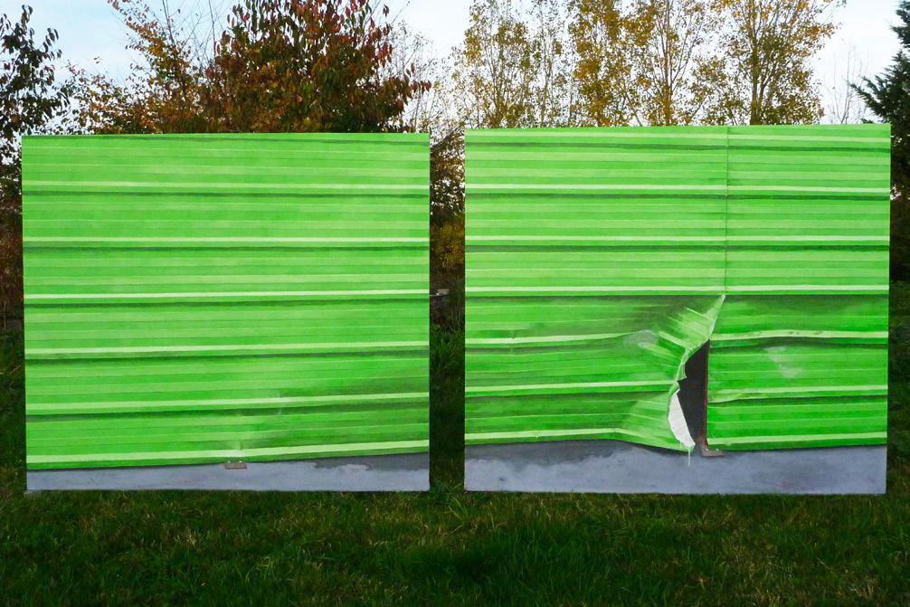 Martin Boissard ,     L'ouverture  , 2013, acrylique sur toile, 141 x 335 cm