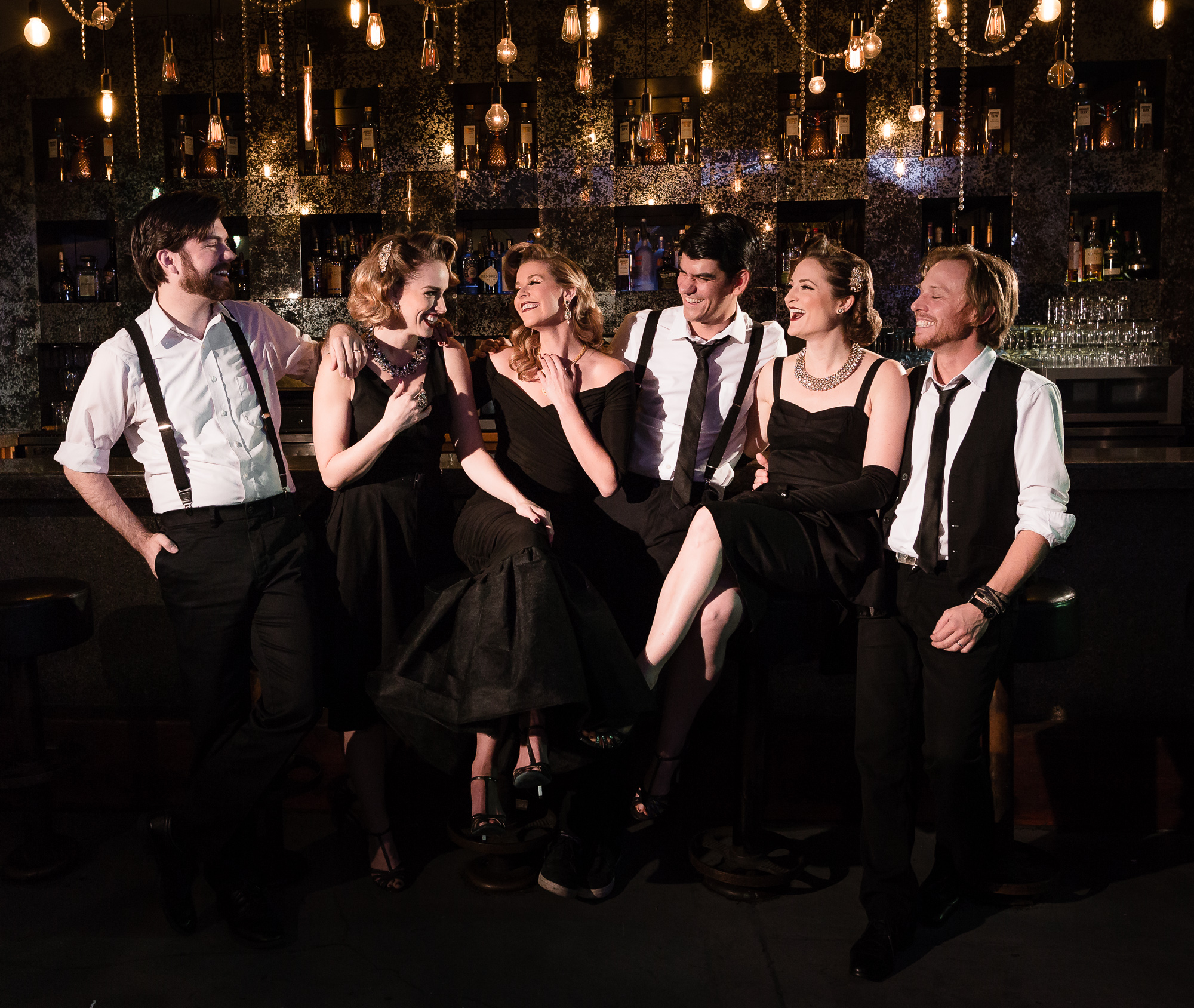 THE ENTIRE BOMBSHELLS FAMILY: JORDAN LAMOUREUX (BASS), TIFFANY DISSETTE, HEATHER LUNDSTEDT O'NEILL, DAVID LAMOUREUX (ARRANGER/BANDLEADER), LEAH SPRECHER AND MATHIAS MINQUET (GUITAR).