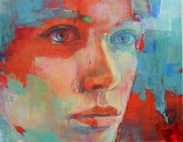 """""""Visión 3"""" 1.20m x 1.40m . . . . #contemporaryart #uruguay #oilpainting #retratocontemporaneo #artgallery #arte #art #portrait #artist #galerialoscaracoles #dibujo #colores #galeria"""