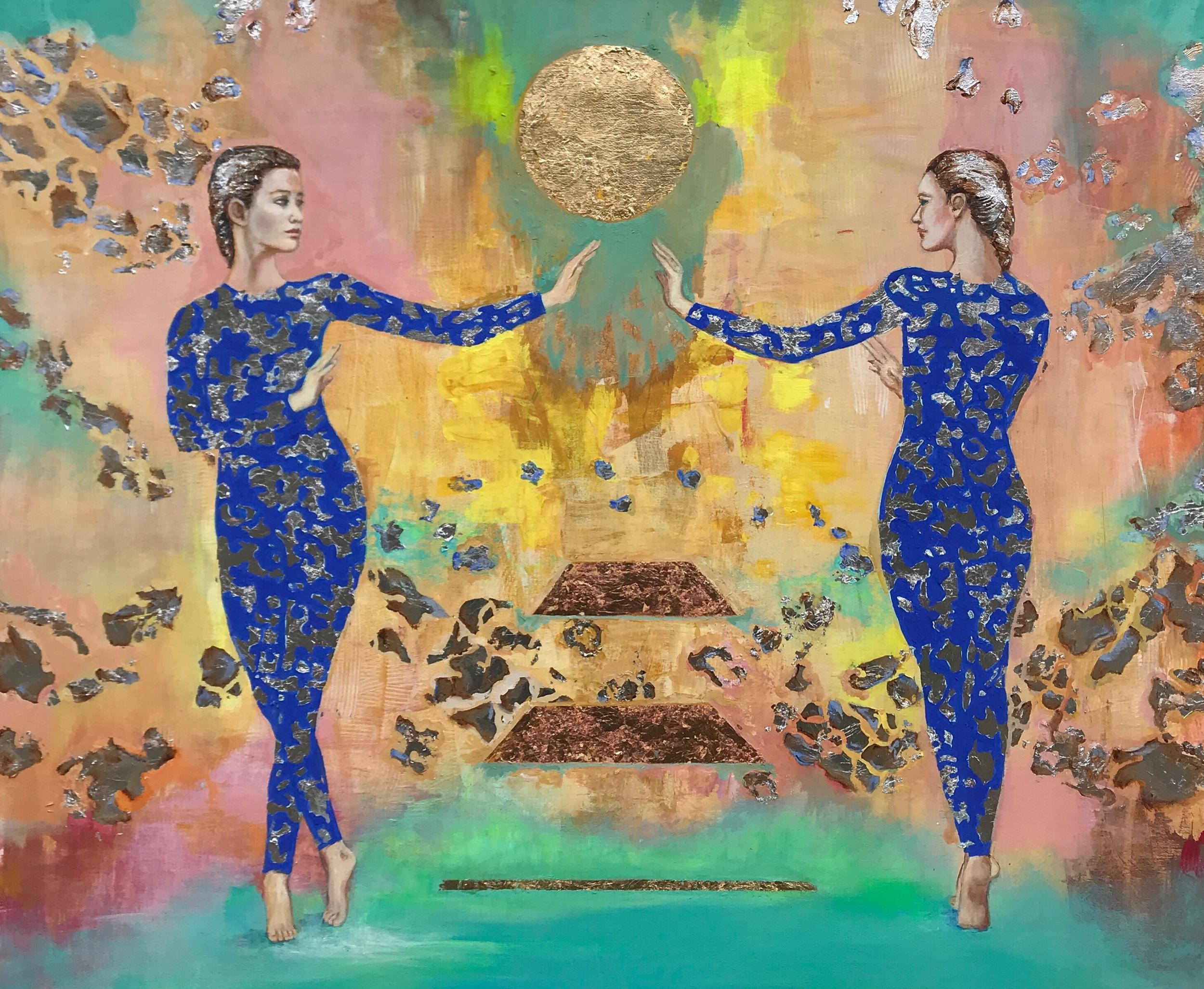 """""""Los cuatro elementos"""" acrílico sobre tela y láminas de oro, plata y cobre 2019"""