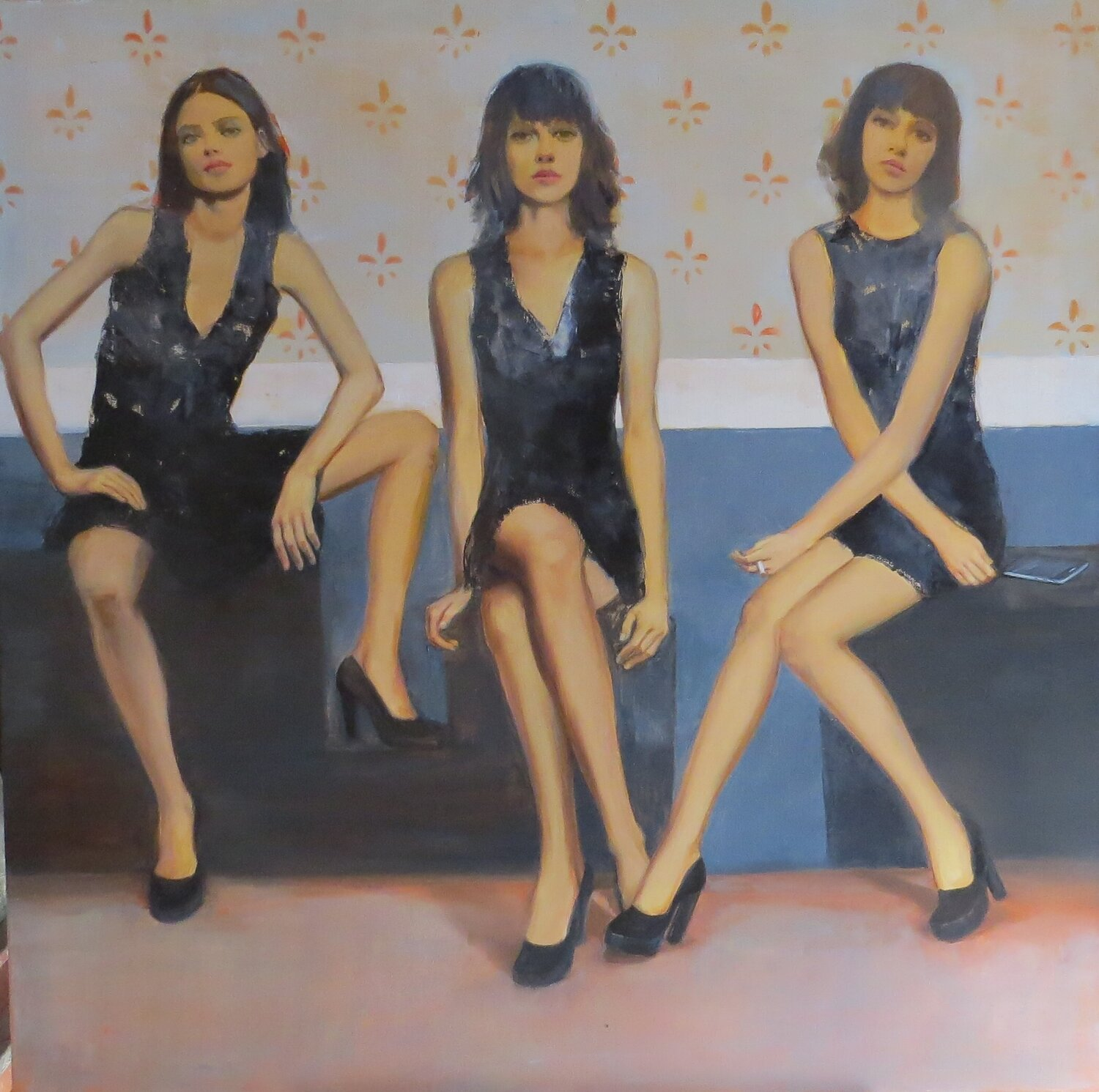 """Las chicas Margaritas "" olí on canvas 1.20m x 1.20m"