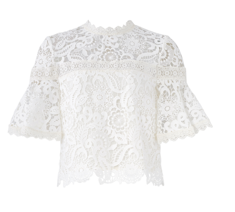 White Lace Flutter Top