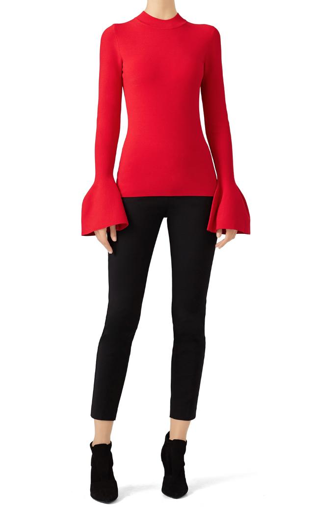 Red Flutter Pullover