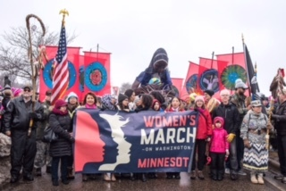 Every Mother HOBT puppet leading MN Women's March