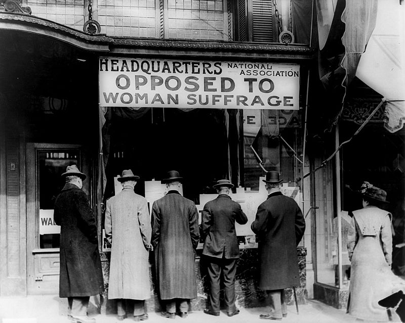 """Unknown -   The New York Times   photo archive, via their online store,  here   Suffragists """"march in October 1917, displaying placards containing the signatures of over one million  New York  women demanding to vote."""""""