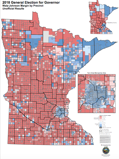 2018 Governor's race, Margin by Precinct, from Minnesota Secretary of State.